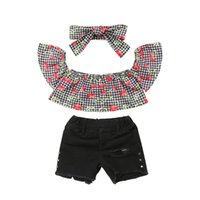 новые джинсы для девочек оптовых-Fashion Kids Clothing Set New Toddler Baby Girl Off shoulder Cherry Plaid Crop Tops+Hole Denim Shorts Jeans Headband 3Pcs Outfit