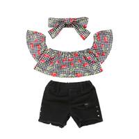 ingrosso fasce di ciliegio-Moda Bambini Abbigliamento Set New Toddler Baby Girl Off spalla Cherry Plaid Crop Top + Hole Denim Shorts Jeans Fascia 3 pezzi Outfit