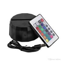 control remoto inalámbrico al por mayor-Batería AAA o Cable USB Base de la lámpara para la luz nocturna 3D Control remoto LED Interruptor táctil 7 Novedad de color Iluminación lámpara de mesa