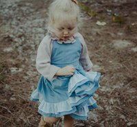 Wholesale Baby Denim Dresses - Spring Kids Girls Denim Dresses Baby Girls Lace Hallow Out Dress Babies Fashion Ruffles Dress 2018 Kids Clothing