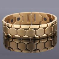 pulseiras para homens ouro equilíbrio venda por atacado-21.3 cm * 17.8mm moda homens mulheres titanium aço pulseiras de aço de tungstênio equilíbrio de energia de prata magnética / banhado a ouro jóias de cuidados de saúde