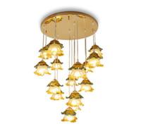 land lampen wohnzimmer großhandel-Regron Europäischen Kronleuchter Lichter Led Glas Kronleuchter Leuchter Natürliche Land Kohl Deckenleuchte Lüster Wohnzimmer treppe