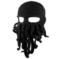 polvo de tentáculos venda por atacado-Chapéu dos homens de Esqui Máscara de Esqueleto Artesanal Malha Engraçado Chapéus Tentáculo Octopus Cthulhu Beanie Chapéu Boné Máscara de Vento Das Mulheres de Natal
