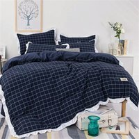 Wholesale Red Wedding Bedding Set - Print Jacquard Luxury Bedding Set Queen King Size Stain Bed Set 4pc Pure Cotton Lace Duvet Cover Sets Bedsheet Home Textile Quilt Cover