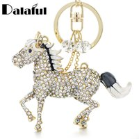 Wholesale Simple Cross Rings - beijia Chic Horse Keychains Keyrings AB Crystal Simple Beads Bag Pendant For Car Women Key Chains Holder Rings K317