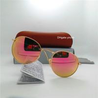 daire gözlük camları toptan satış-Cam Lens Yuvarlak Klasik Güneş gözlüğü Erkekler Kadınlar Marka Tasarımcı Çember Unisex UV400 Ayna 51MM Açık Oval Metal Güneş Gözlükleri Kahverengi Kasa Kutusu