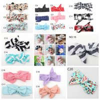 Wholesale baby turbans - 20styles Turban Girl printed Bow hairband DIY Baby Kid Accessories Hair Band Polka Dot Headwear Headband FFA477 50pcs