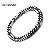 large chaîne vintage achat en gros de-Meaeguet 8mm / 10.5mm Large Vintage En Acier Inoxydable Chaîne Lien Bracelet Hommes Bijoux Mat Mat Fini Main Chaîne Bracelet Bracelet