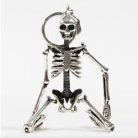 antiker metallschädel großhandel-Faltbare Skeleton Anhänger Schlüsselanhänger Für Männer Frauen Antike Silber Farbe Metalllegierung Schädel Tasche Charme Schlüsselanhänger Auto Schlüsselbund Schlüsselbund