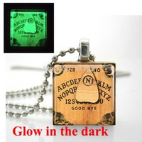 Wholesale popcorn balls resale online - Glow in the dark Necklace Ouija Board Necklace Scrabble Tile Pendant with Ball Chain glass art photo necklace Glowing Jewelry