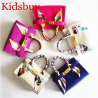 Wholesale little girls mini purses - Kidsbuy New Colors Handbags With Scarf for Children's Baby Kids Small Leather Totes Little BABY Girls Mini Purse Toddlers brand BAGS KB126
