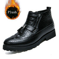 Wholesale plush alligators - Alligator Style Men Boots Plush Warm Winter Shoes Men Fringe Winter Boots Leather Shoes Black