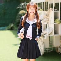 traje de marinero femenino al por mayor-Vestido de cosplay de anime Manga larga Japonés Corea Niñas Uniforme escolar Estudiantes Traje Campus Mujer Estilo de la escuela naval Uniformes de marinero