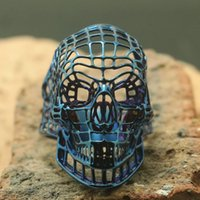 череп кольцо синее оптовых-Size 7 to Size 14 Men 316L Stainless Steel Cool Punk Gothic Hollow Out Biker Blue Skull Ring