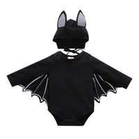 Wholesale Cute Baby Halloween funny bat sets kids jumpsuit connect bat wings hat set childrens Cosplay Halloween Costumes H161