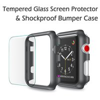 Wholesale Hard Snap Case - Apple Watch Series 3 2 1 38 42mm Snap On Bumper Hard Case Cover+iWatch Tempered Glass Screen Protector
