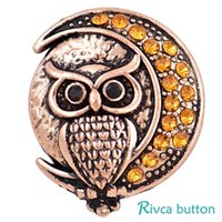 Wholesale Bead Jewelery - 2018 Rivca Snap Button Jewelry NOOSA Newest DIY 18mm Mixcolour owl crab Crown Snap Button Fit Charm leather alloy fashion Bracelet jewelery