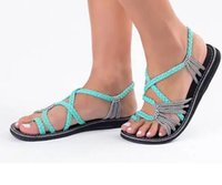 Wholesale knit sandals - Hotest New beach toes flat bottomed sandals and large size knot beach shoes Knitted sandals
