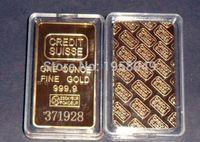 ordem laço de plástico venda por atacado-Número do laser Livre, Alta Qualidade 10 pçs / lote Credit suisse Ouro fino réplica bullion .999 banhado a ouro bar bullion
