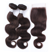 boucle de dentelle brun achat en gros de-Extensions de cheveux humains ondulés indiens vierges bruts 2 faisceaux avec la couleur de fermeture de dentelle 2 faisceaux de cheveux de vague de corps brun foncé