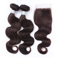 kahverengi dalgalı saç uzatmaları toptan satış-Ham Bakire Hint Dalgalı İnsan Saç Uzantıları 2 Demetleri Ile Dantel Kapatma Renk 2 Koyu Kahverengi Vücut Dalga Saç Demetleri