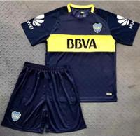 Wholesale boca juniors shorts - 17 18 Boca Juniors Home Soccer Uniforms Men's Short Sleeve Thai Quality Soccer Jersey Shorts Boca Away Football Sets 3RD Blue Soccer kits