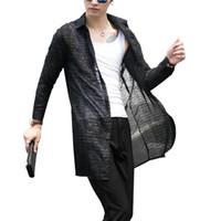 ropa translúcida al por mayor-2018 hombres de manga larga camisas de malla hueca moda casual larga translúcida camisa de punto vestido de fiesta camisas para hombre ropa