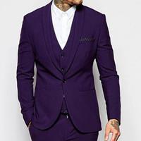 trajes de boda púrpura oscuro para hombre al por mayor-Nuevo diseño Un botón Dark Purple novio uxedos Chal Solapa rosmen El mejor juego del hombre Mens Wedding Suits Novio (Chaqueta + Pantalones + Vest + Tie) NO: 19