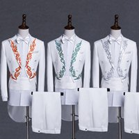 adb7ac0f986 (jacket+pants+tie+corset)embroidery male suit host stage performance tuxedo  S-2XL white black color suit singer dancer stage wear