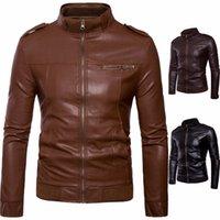 ingrosso cuoio di tendenza degli uomini-Giacca in pelle PU da uomo Trend Collare Slim Giacca in pelle da uomo Maschile cappotto maschile