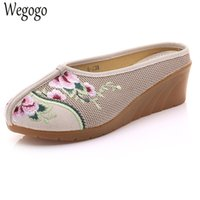 Wholesale chinese sandals - Vintage Women Slippers Slope Floral Embroidered Casual Chinese Canvas Sandals Soft Shoes Woman Chinelo Feminino