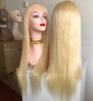 perucas de cabelo loiro chinês venda por atacado-613 Loira Peruca Cheia Do Laço 10A Virgem Chinês Cor Do Cabelo Humano Lace Wigs Celebridade Peruca De Seda Em Linha Reta Frente Peruca Do Laço Frete Grátis