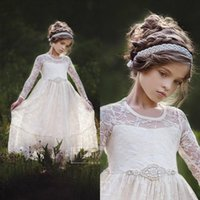 Wholesale Simple New Dress For Girls - New Cute Country Lace Flower Girls Dresses For Weddings Long Sleeves Floor Length Simple A Line First Communion Dresses with Beaded Sash