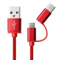 kablo flaşlı mobil toptan satış-satış 2-in-1 USB 2.0 Erkek için USB Hızlı Android # 156 çoklu renkler için Şarj Kablo 3.1 Tip C / Mikro USB Dokuma Veri
