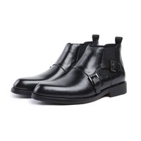 Wholesale ankle boots men shoes dress resale online - men business ankle boots luxury buckle formal wedding shoes genuine leather dress shoes