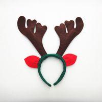 cuerno de reno de navidad al por mayor-Nuevo corno de reno diadema lindo ciervo Elk cuerno tocado para niños adultos fiesta de navidad decoración de disfraces