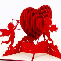 открытки оптовых-Wholesale- Fashion 3D Up Foldable Cut Paper Greeting Cards Creative Handmade Love Cupid Post Cards Valentines Wedding Xmas Gift