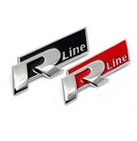 adesivos para carros volkswagen venda por atacado-Auto Carro de Metal 3D Rline Etiqueta Emblema R linha Crachá para Volkswagen VW GOLFE GTI Besouro Polo Touareg Tiguan Passat Scirocco