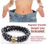 pulseira hematita magnética venda por atacado-Hematita magnética Rodada Budda Cabeças Pedra Beads Pulseira Para HomensMulheres Peso Perder Anti-Fadiga Cuidados de Saúde Pulseira de Energia