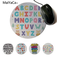 Wholesale funny alphabet - MaiYaCa Your Own Mats Baby Learing Letters Funny Alphabet Rubber Pad to Mouse Game Round mouse pad 22x22cm 20x20cm