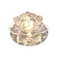 luz de techo flor al por mayor-Moderno Cristal de girasol 3W Corredores Downlights Sala de estar Luces de techo Lámpara de techo de gabinete de Lotus Flower Hallway