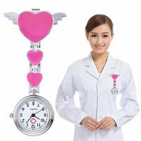 relógio de bolso de quartzo coração venda por atacado-Atacado-Mulheres Senhora Amor Bonito Quartzo Coração Clip-on Fob Broche Enfermeira Pocket Watch