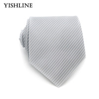 ties for gray suits UK - XT151 New Gray Solid Tie Fashion Men's Necktie 8CM Silk Jacquard Woven High Quality Suits Wear Ties For Wedding Business Party