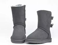 uzun boylu yeni ayakkabılar toptan satış-EU25-43 YENI WGG Avustralya klasik tall kış çizmeler gerçek deri Bailey Ilmek kadın Çocuk çocuklar bailey yay kar botları ayakkabı boot