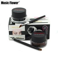 ingrosso gel due-Music Flower Black + Brown Gel bicolore Eyeliner Sbavatura-Proof Water proof Eye Liner Eyeliner Gel Eyeliner Makeup Cosmetic + Bru 3001218