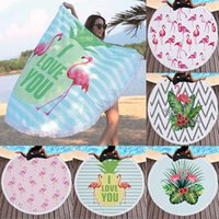 Wholesale microfiber yoga blankets resale online - 150cm New Round Beach Towel Mat Flamingos Pattern Pad Microfiber Yoga Blanket Mat Bikini Outdoors Sports Swimming Bath Towel WX9