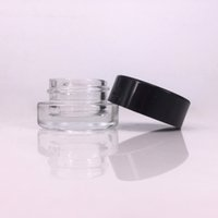 Wholesale cosmetic logos online - glass stash jar container ml ml custom logo clear dab rig wax oil case mini small cosmetic jar with black lid