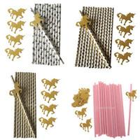 altın kağıtlar toptan satış-25 adet / grup çocuk doğum günü partisi tatlılar saman unicorn kağıt çubuklar golde fly of farklı saman fly bebek parti dekorasyon MMA794 100lot