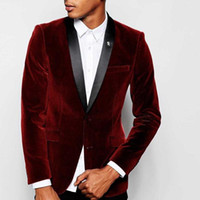 Wholesale stylish men ties resale online - Stylish Design Groom Tuxedos Two Button Dark Red Velvet Shawl Lapel Groomsmen Best Man Suit Mens Wedding Suits Jacket Pants Tie NO