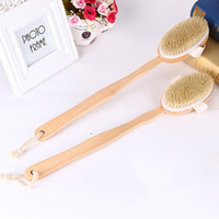 Wholesale Wooden Body Massage - Bath Body Brush Boar Bristles Exfoliating Body Massager with Long Wooden Handle for Dry Brushing and Shower